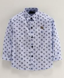 Actuel Full Sleeves Floral Print Shirt - Blue