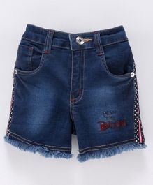 Actuel Push The Button Printed Denim Washed Shorts - Blue