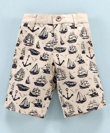 Actuel Anchor & Ship Print Jamaican Shorts - Fawn