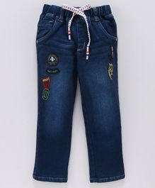 Actuel Denim Thunder Embroidered Full Length  Joggers Pant - Blue