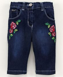 Actuel Demim Floral Embroidery Three Fourth Length  Capri - Blue