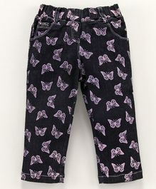 Actuel Butterfly Printed Denim Three Fourth Length Capri - Black