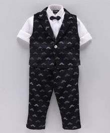 Actuel Full Sleeves Shirt With Mustache Print Waistcoat & Pants - Black