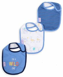 Mi Arcus Organic Cotton Baby Bib Animal Print Pack of 3 - Blue