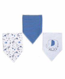 Mi Arcus Organic Cotton Triangular Baby Bib Animal Print Pack of 3 - Blue White