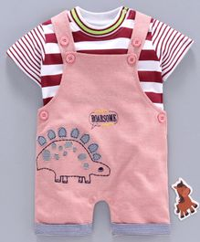 Olio Kids Dungaree Style Romper with Half Sleeves Striped Inner Tee Dino Embroidery - Peach
