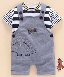 Olio Kids Dungaree Style Romper with Half Sleeves Striped Inner Tee Dino Embroidery - Blue