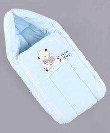 Mee Mee Hooded Carry Nest Teddy Bear & Rabbit Patch - Blue
