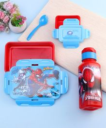 Marvel Spider Man Combo of Lunch Box & Water Bottle Spider Man Print - Red Blue