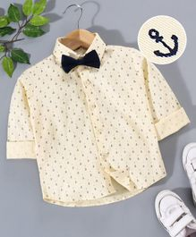 Robo Fry Party Wear Full Sleeves Shirt With Bow Anchor Print - Yellow