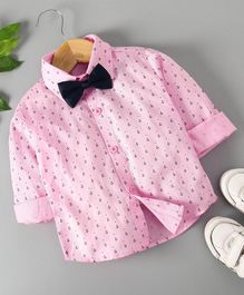 Robo Fry Party Wear Full Sleeves Shirt With Bow Anchor Print - Pink