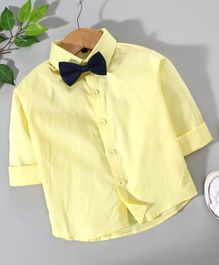 Robo Fry Full Sleeves Shirt With Bow - Yellow