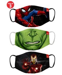 Bon Organik Set Of 3 Mighty Avengers Printed Protective Masks - Multicolor