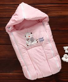 Mee Mee Hooded Carry Nest Teddy Bear Patch - Light pink