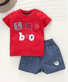Wonderchild Little Bro Patch Short Sleeves Tee With Shorts - Red & Blue