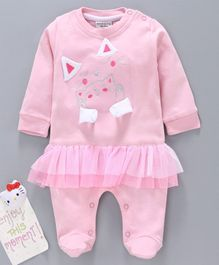 Wonderchild Cat Embroidered Full Sleeves Footed Romper - Pink
