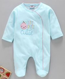 Wonderchild Embroidered Full Sleeves Footed Romper - Blue