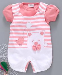 Wonderchild Short Sleeves Tee With Striped Romper - Pink