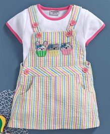 Wonderchild Half Sleeves Tee With Striped Dungaree Dress - Multi Color