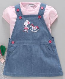 Wonderchild Short Sleeves Tee With Dot Printed Dungaree Dress - Pink & Blue