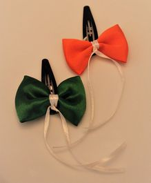 Flying Lollipop Set Of 2 Tri Colour Bow Hair Clips - Green White Orange