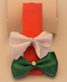 Flying Lollipop Tricolour Beaded Hair Clip - Orange & Green & White