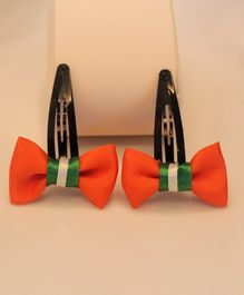 Flying Lollipop Set Of Two Tricolour Bow Hair Clips - Orange