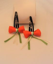 Flying Lollipop Set Of 2 Tricolour Bow & Ribbion Hair Clip - Orange
