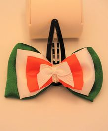Flying Lollipop Tricolour Big Bow Hair Clip - Green & White & Orange