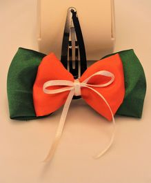 Flying Lollipop Flag Colour Big Bow Hair Clip - Green White & Orange