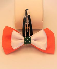 Flying Lollipop Dual Colour Big Bow Hair Clip - Orange & White