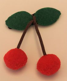 Flying Lollipop Cherry Droplet Hair Clip - Green & Red