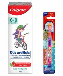 Colgate Kids Barbie Tooth Brush and Strawberry Mint Tooth Paste Combo - 80 gm