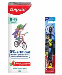 Colgate Kids Batman Tooth Brush and Strawberry Mint Tooth Paste Combo - 80 gm