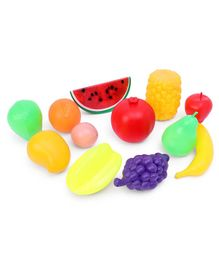 Ratnas Toy Fruits with Basket Pack of 12 - Multicolor