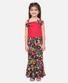 Lilpicks Couture Sleeveless Top With Tropical Print Flared Pants - Dark Pink