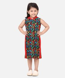 Lilpicks Couture Sleeveless Car Printed Hooded Dress - Red