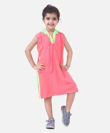Lilpicks Couture Sleeveless Solid Colour Hooded Dress - Neon Pink