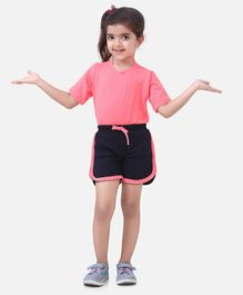 Lilpicks Couture Half Sleeves Solid Tee & Shorts Set - Pink