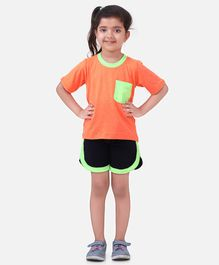 Lilpicks Couture Half Sleeves Solid Tee & Shorts Set - Neon Orange