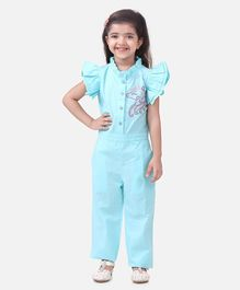 Lilpicks Couture Cap Sleeves Unicorn Embroidery Detailing Jumpsuit - Light Blue