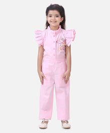 Lilpicks Couture Cap Sleeves Unicorn Embroidery Detailing Jumpsuit - Light Pink