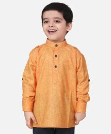 Lilpicks Couture Full Sleeves Solid Short Kurta - Peach
