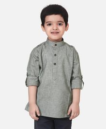Lilpicks Couture Full Sleeves Solid Short Kurta - Grey