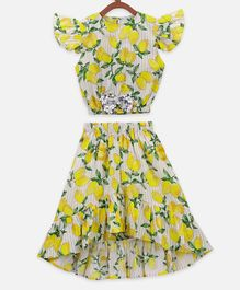 Lilpicks Couture Cap Sleeves Lemon Printed Top With High Low Skirt - Yellow