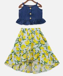 Lilpicks Couture Sleeveless Denim Strappy Top With Low-High Lemon Printed Skirt Set - Navy Blue & Lemon Yellow