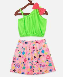 Lilpicks Couture Sleeveless Bow Detailed Crop Top With Pleated Floral Printed Skirt Set - Neon Green  & Pink