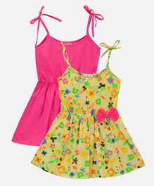 Lilpicks Couture Pack Of 2 Sleeveless Strappy Flowers Printed Flared Dress - Pink & Yellow