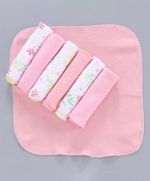 Ohms Hand & Face Towels Pack of 7 - Pink White