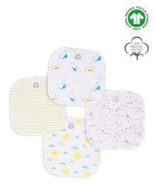 Keebee Organics Sunny Day & Paper Plane Print Pack Of 4 Organic Cotton Napkins - White